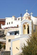 Crowded Street. Santorini, Greek Island, Greece, Europe