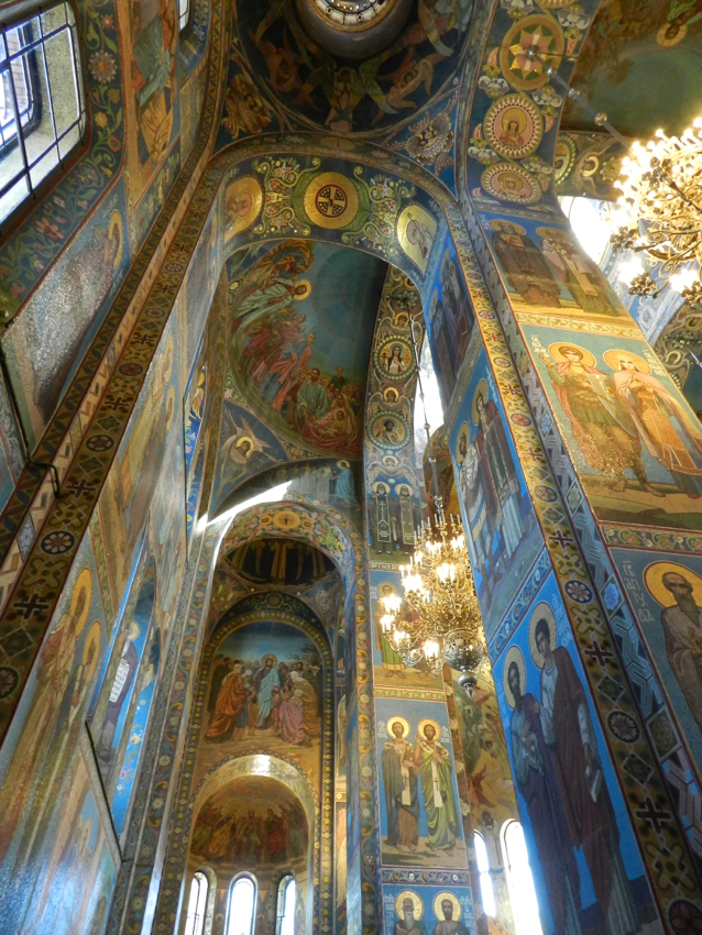 Walls inside Church on Spilled Blood, Russia