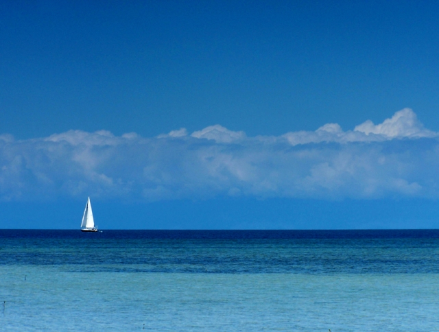 Fantome Island, QLD Australia, Sailing Boat, Blue