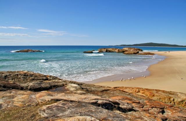 South West Rocks, NSW, Beach, Rocks, Blue