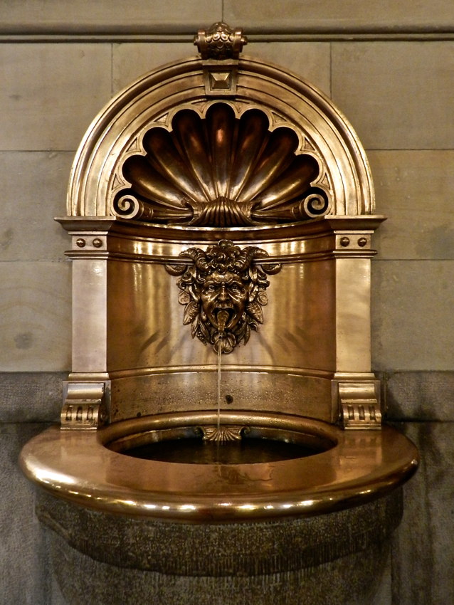 Gold fountain in Lobby