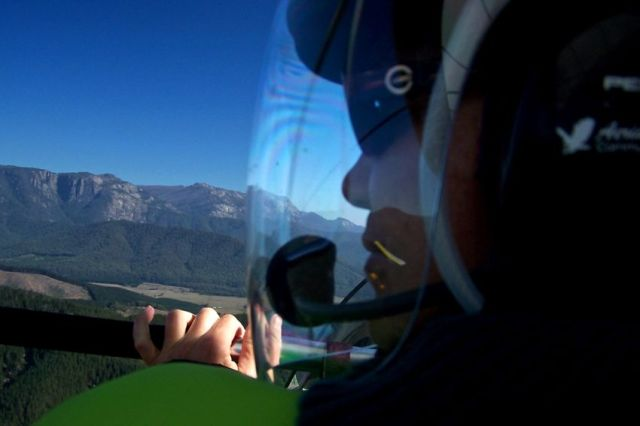 Ultralight, flying, Mt Buffalo, ViC, Australia