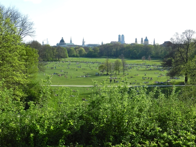 English Garden and City Skyline