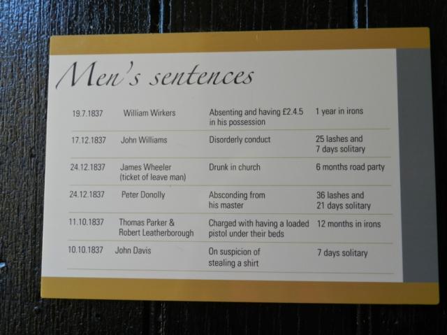 Mens Sentences at Richmond Gaol, Tasmania