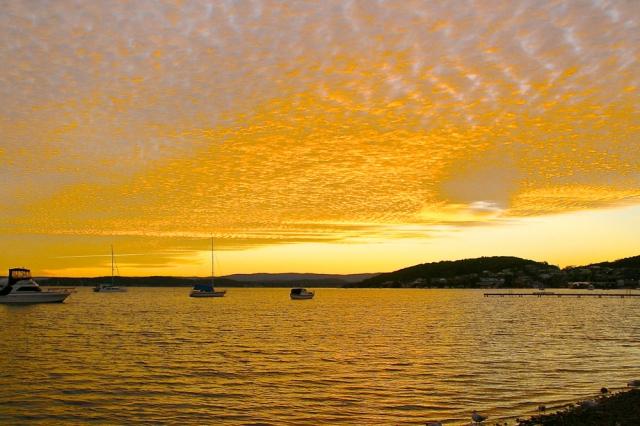 Sunset, golden, yellow, Lake Macquarie