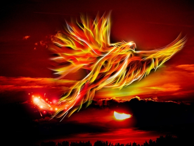 Phoenix rising from the ashes.http://pixabay.com/en/phoenix-bird-fire-sun-bright-red-500469/
