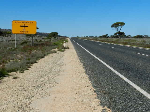 Road as airstrip used by the Royal Flying Doctors Service, WA
