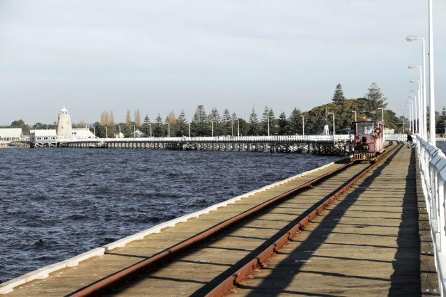 Train ride over the 1.8 km jetty