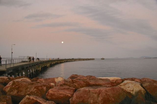 Sunset and moonrise at Tanker Jetty